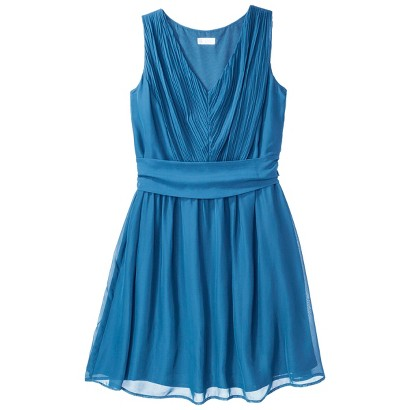 TEVOLIO™  Women's Chiffon V-Neck Pleated Dress - Fashion Colors