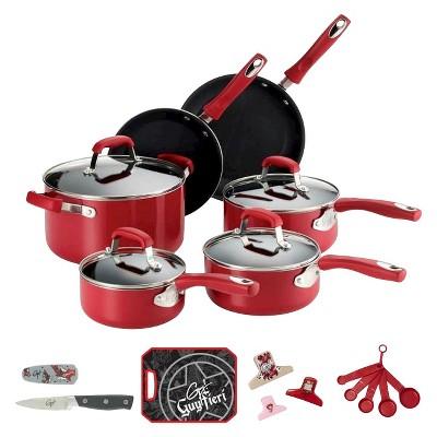 Guy Fieri Nonstick Aluminum 21 Piece Cookware Set Red