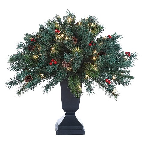2' Pre-Lit Pine Shrub w/ Pot - Clear Lights