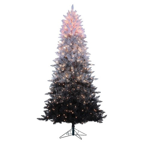 """7.5' x 48"""" Black and White Spruce Pre-lit Artificial Christmas Tree - Clear Lights"""