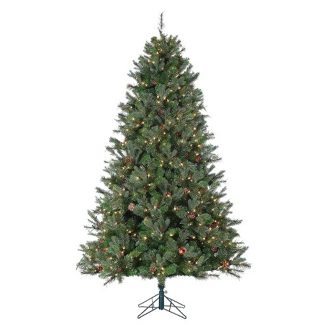 "7.5' x 54"" Jefferson Pine Pre-lit Artificial Christmas Tree - Clear Lights"