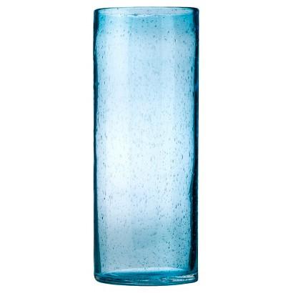 Threshold Bubble Glass Cylinder Vase - Blue 14.7
