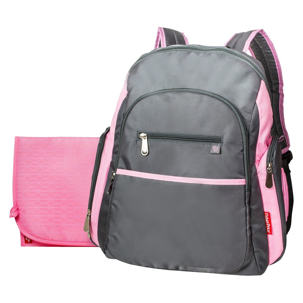 fisher price ripstop diaper bag backpack grey pink. Black Bedroom Furniture Sets. Home Design Ideas