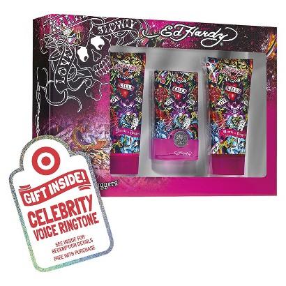 Women's Ed Hardy Hearts & Daggers 3 Piece Gift Set Plus Free Celebrity Voice Ringtone