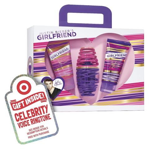 Women's Justin Bieber 3 Piece Girlfriend Eau de Parfume Gift Set Plus Free Celebrity Voice Ringtone