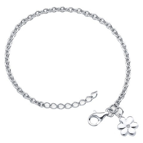 Little Diva Sterling Silver Bracelet with Diamond Accent Flower Charm - Silver