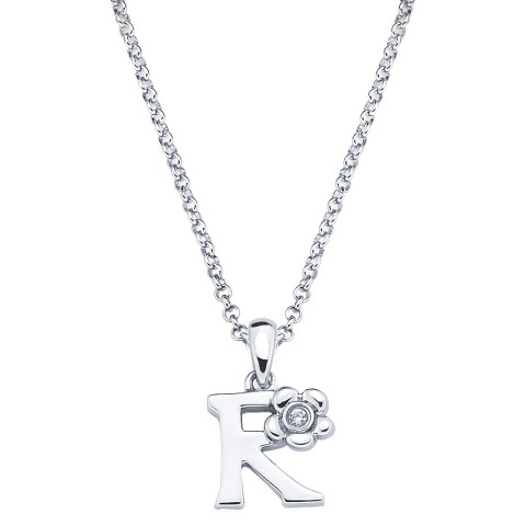 Little Diva Sterling Silver Diamond Accent Initial Pendant Necklace - Silver