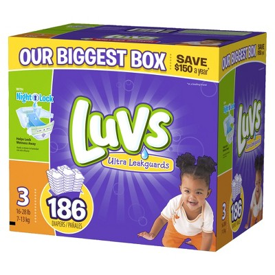 Luvs Ultra Leakguard Baby Diapers - Size 3 (186 Count)
