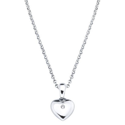 Little Diva Sterling Silver Diamond Accent Heart Pendant Necklace - Silver