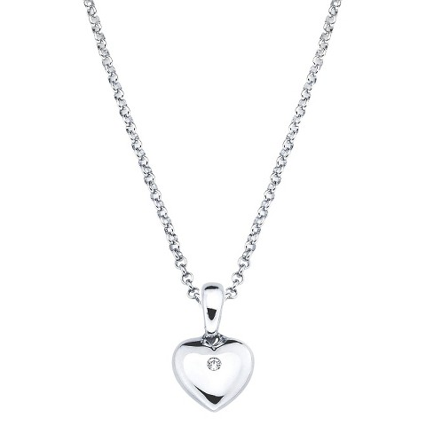 Little Diva Sterling Silver Diamond Accent Heart Pendant Necklace - Silver