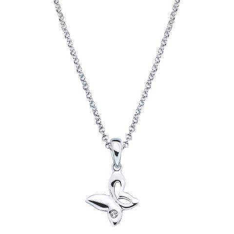Little Diva Sterling Silver Diamond Accent Butterfly Cutout Pendant Necklace - Silver