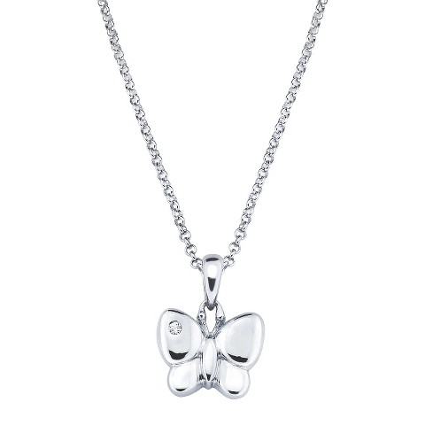Little Diva Sterling Silver Diamond Accent Butterfly Pendant Necklace - Silver
