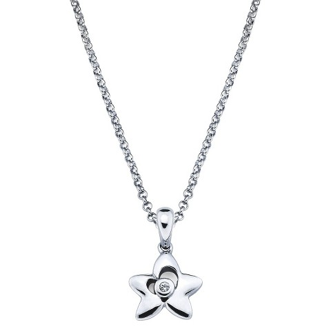Little Diva Sterling Silver Diamond Accent Star Pendant Necklace - Silver