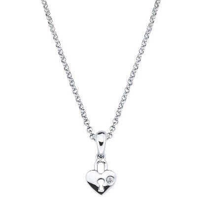 Little Diva Sterling Silver Diamond Accent Heart Shape Lock Pendant Necklace - Silver