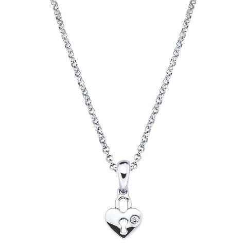 Little Diva Sterling Silver Diamond Accent Heart Shape Lock Pendant Necklace - Silver