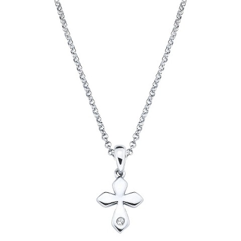 Little Diva Sterling Silver Diamond Accent Cross Pendant Necklace - Silver