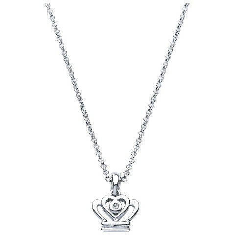 Little Diva Sterling Silver Diamond Accent Crown Pendant Necklace - Silver