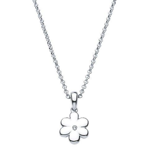 Little Diva Sterling Silver Diamond Accent Flower Pendant Necklace - Silver