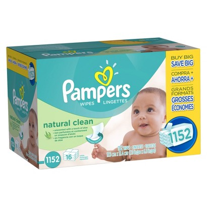 Pampers Natural Clean Baby Wipes - 1,152 Count