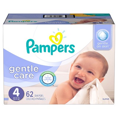 Pampers Gentle Care Diapers, Super Pack - Size 4  (62 Count)
