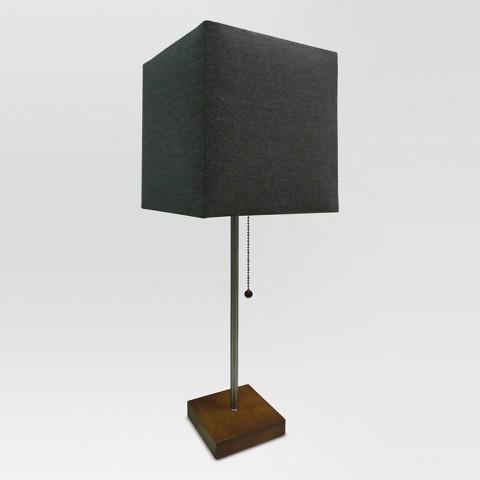 threshold square shade stick lamp with wood base target. Black Bedroom Furniture Sets. Home Design Ideas