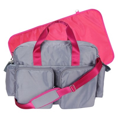Trend Lab Deluxe Duffle Diaper Bag - Grey and Magenta Pink