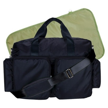 Trend Lab Deluxe Duffle Diaper Bag - Black and Avocado Green