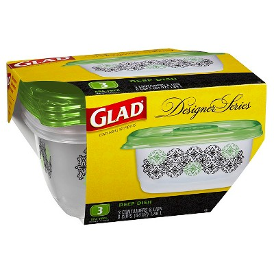 Glad Designer Series Containers Deep Dish 3 ct
