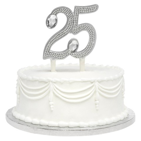 25th Anniversary Cake Topper - Gilded Silver