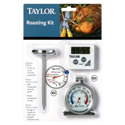 Taylor Roast Set; Leave-in Meat Thermometer, Digital Timer and Oven Thermometer
