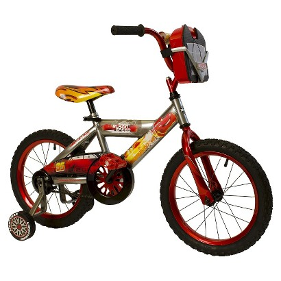 """Huffy Disney Cars 16"""" Boys Bike with Car Carrier - Grey/Red"""