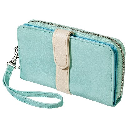 Zip Wallet with Strap - Mint Green