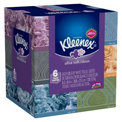 Kleenex Ultra Soft Facial Tissues 120 Count, 6 Pack