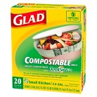 Glad 100% Compostable OdorShield Fresh Clean Scent Small Kitchen Trash Bags 2.6 gal 20 ct