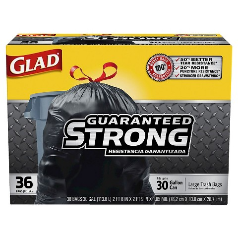 Glad Extra Strong Large Drawstring Trash Bags 30 gal 36 ct