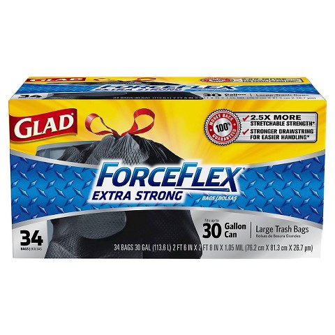 Glad ForceFlex Extra Strong Large Drawstring Trash Bags 30 gal 34 ct