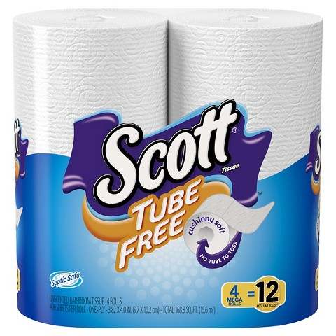 Scott Tube Free Mega Roll, 4 pk, 400 ct