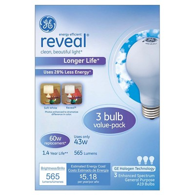 GE Reveal 60-Watt Long Life Energy Efficient Halogen Light Bulb (3-Pack) - Frosted