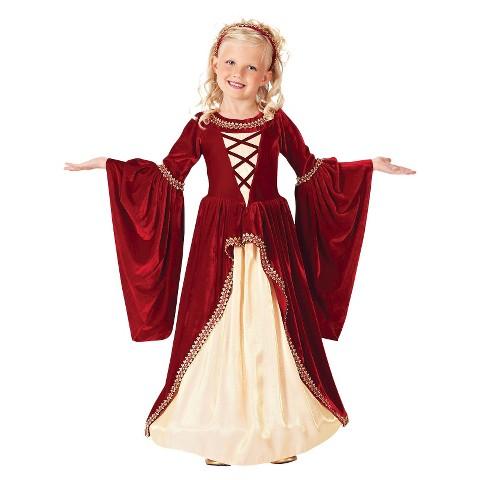 Girl's Crimson Renaissance Princess Costume