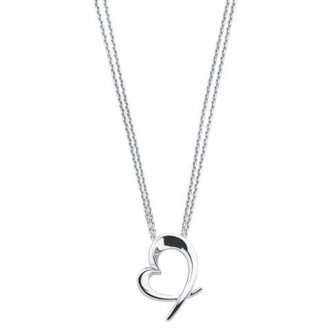 She Sterling Silver Open Heart Pendant Necklace