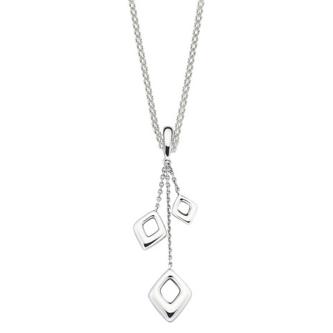SHE Sterling Silver Double Heart Drop Pendant from Chain Necklace-Silver