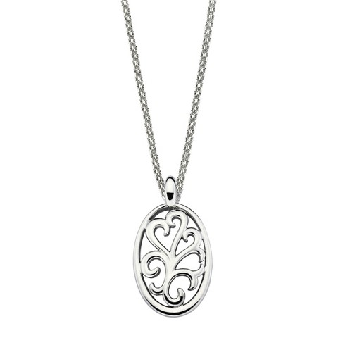 She Sterling Silver Open Scroll Pendant Necklace-Silver