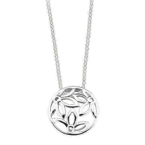 She Sterling Silver Open Flower Pendant Necklace-Silver
