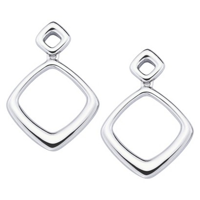 She Sterling Silver Double Square Drop Earrings-Silver