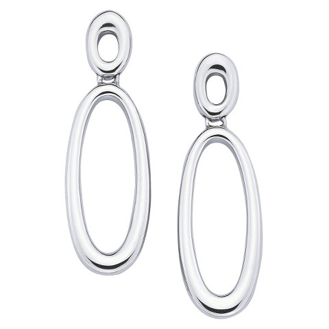 She Sterling Silver Double Open Oval Drop Dangle Earrings