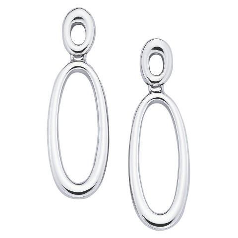 She Sterling Silver Double Open Oval Drop Dangle Earrings-Silver