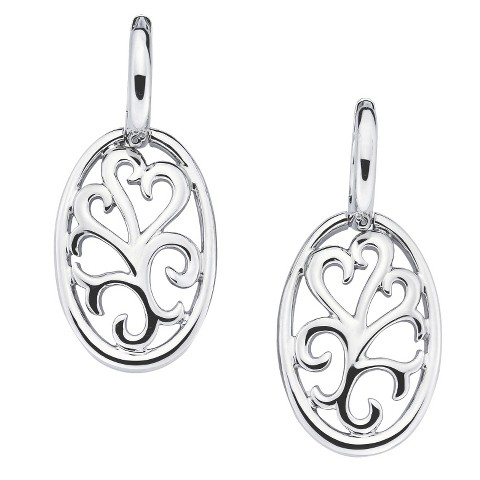 She Sterling Silver Open Scroll Dangle Earrings-Silver