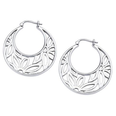 She Sterling Silver Open Flower Hoop Earrings-Silver