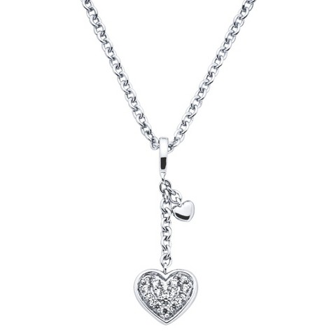 Lotopia Sterling Silver Dangle Heart Pendant Necklace-Swarovski Zirconia Stones-White