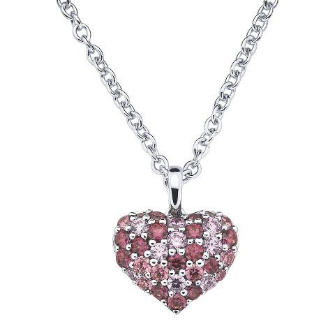 Lotopia Sterling Silver Heart Cluster Pendant Necklace-Swarovski Zirconia Stones-Multi Pinks